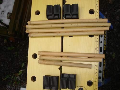 Tronçons obtenus à partir d'une tige de bambou